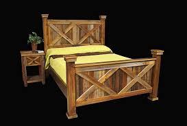 western style bedroom furniture bed frame nightstand country rustic cabin log wood bedroom