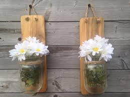 set of two rustic mason jar wall sconce country decor wall hanging