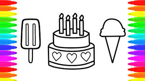 coloring page of birthday cake popsicle and ice cream for kids
