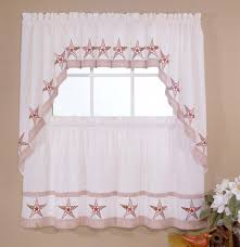 Designer Kitchen Curtains Country Stars Bamboo Embroidered Curtain Set Showy Designer