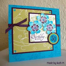 flower sparkle flowery 50th birthday card for gill