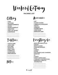thanksgiving weekend getaways weekend getaway packing list free printable weekend getaways