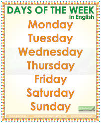 days of the week months of the year seasons in english vocabulary
