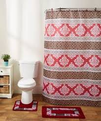 burgundy feather 18 piece bathroom set 2 rugs mats 1 fabric