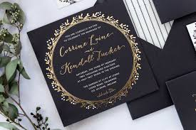 wedding invitations kildare corrine black dress paperie