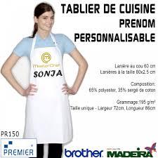 grammage cuisine broderie tablier de cuisine blanc masterchef prenom