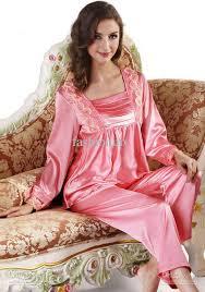 2017 sleeved silk satin pajama set robe sets