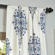 kerala blue 96 x 50 inch printed cotton twill curtain single panel