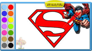 superman drawing s symbol coloring pages and learn to color for
