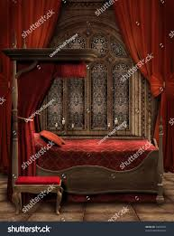 Red Curtains In Bedroom - vintage bedroom red curtains candles stock illustration 74623441