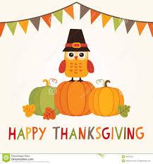 happy thanksgiving illustration with owl in pilgrim costume stock