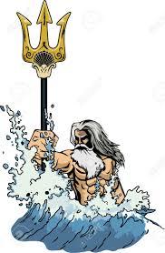 illustration sea god neptune or poseidon comes out of the sea