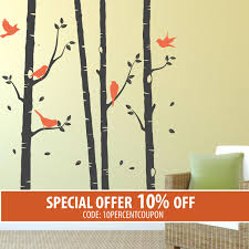 birch tree decal with birds trees vinyl stickers nature wall