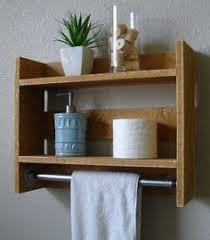 Bathroom Wall Cabinet With Towel Bar with Simply Rustic Small 2 Tier Bathroom Wall Shelf With 18