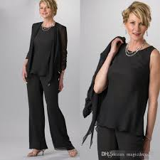 plus size black 2016 mother of the bride pant suit with jacket