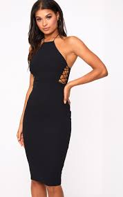 high neck dress black lace side high neck midi dress dresses prettylittlething usa