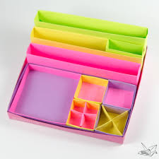 Origami Desk Organizer Origami Desk Organiser Tutorial Nested Boxes Paper Kawaii