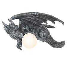 dragon home decor hanging dragon with orb lamp gothic home decor sca fantasy