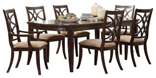 7 pc dining room set keegan 7 dining room set brown cherry transitional