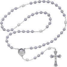 purple rosary lavander pearl rosary 7mm