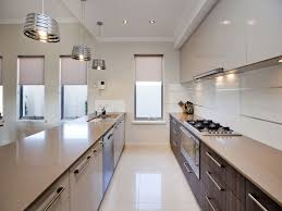 kitchen modern galley kitchen with high gloss white cabinet and