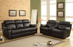 Leather Reclining Sofa Set by Homelegance Marille Reclining Sofa Set Black Bonded Leather