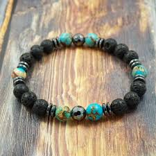 Handmade Mens Bracelets - gentstone s bracelet light blue sea sediment jasper lava