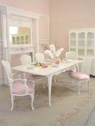 shabby cottage chic set 6 dining chair white cane back pink linen