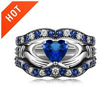 blue diamond wedding rings blue diamond claddagh engagement ring set evermarker