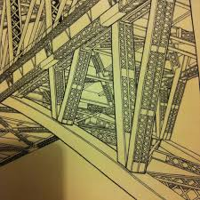 a smaller section of a drawing of sydney harbour bridge in place