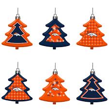 denver broncos six pack shatterproof tree ornament set