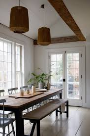 dining room inspiration with farmhouse table double pendant