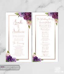purple wedding programs purple wedding program card bridal party ceremony schedule