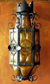 mexican wrought iron lighting rare mexican craquelle glass and wrought iron light fixture hand
