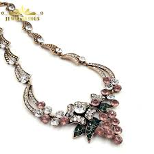 necklace gold pink images Luxury flower deco pink crystal grape necklace gold tone scroll jpg
