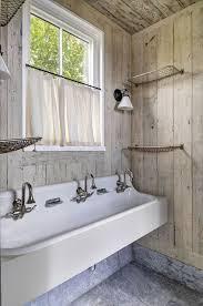 Kohler Trough Sink Bathroom White And Gray Cottage Bathroom With Kohler Gilford Sink Cottage