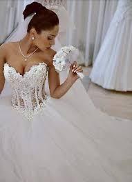 pearl wedding dresses ballgowns see through corset for bridal