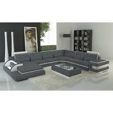 canape angle gauche cuir canapé panoramique cuir gris et blanc design avec lumière ibiza