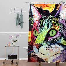 Crazy Shower Curtains Amazon Com Deny Designs Dean Russo Curiosity Cat Shower Curtain