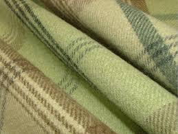Wool Drapery Fabric Balmoral Sage Green Wool Effect Washable Thick Tartan Curtain Fabric