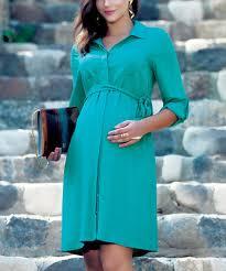ebru maternity green tie waist maternity button up dress by ebru maternity on