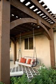 swing pergola free standing diy timber frame pergola kit installed over backyard