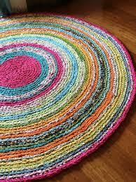 Multicolored Rug Round Rug Multicolored Memory Rag Rug Recycled T Shirt Yarn