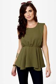 green blouses olive green top sleeveless top peplum top 38 00