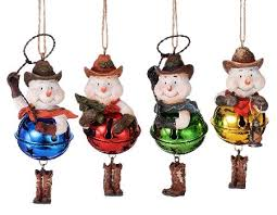 snowman cowboy bell ornament ornaments
