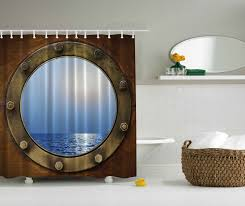 Nautical Curtain Fabric Ambesonne Nautical Theme Bathroom Decor Ship Porthole Print