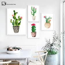 cactus home decor watercolor plants cactus flower poster prints minimalist decoration