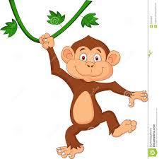 cartoon monkey hanging from tree