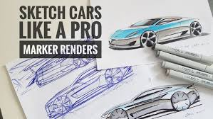 how to sketch draw design cars like a pro marker renders udemy