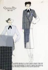 christian dior vintage chrisian dior fashion sketch gingham